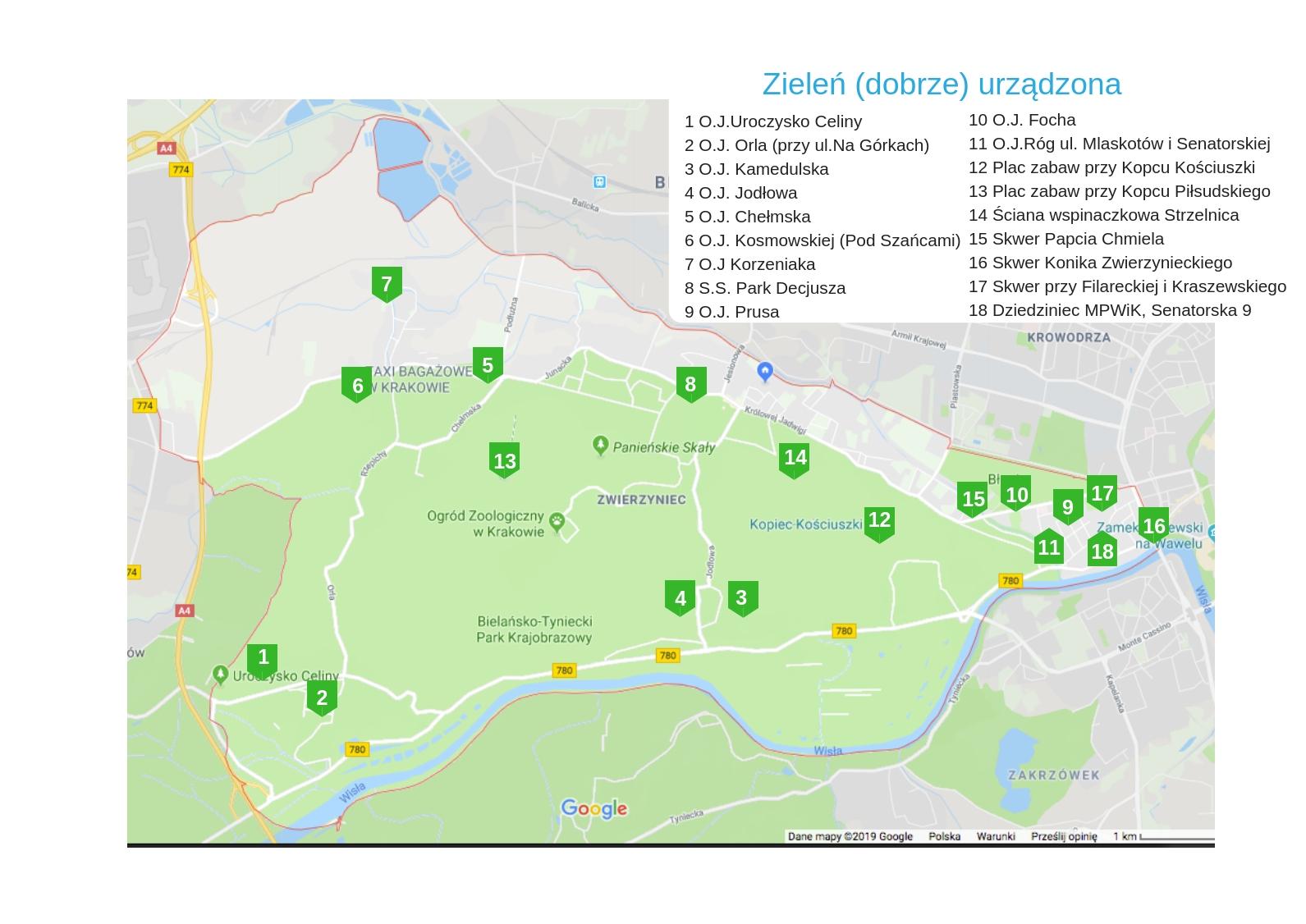 mapka terenów zielonych